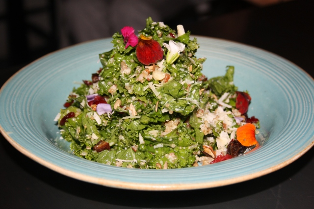 Kale and Quinoa Salad with Dates, Toasted Walnuts, Lime Parmesan Dressing